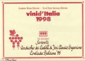 Balciana Sartarelli 1995 - Tre Bicchieri 1998
