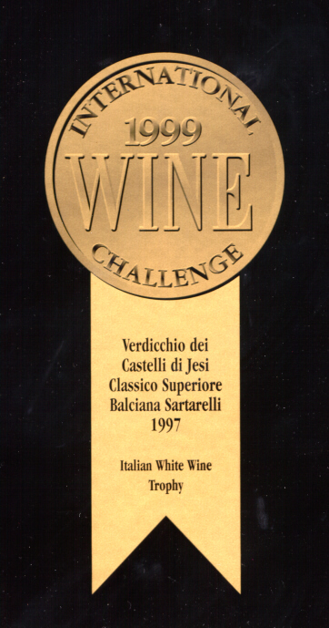 Balciana Sartarelli 1997 - Italian White Wine Trophy - International Wine Challenge 1999