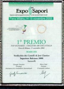 Balciana Sartarelli 2000 - 1° Premio Top Hundred Vini d'Italia (2002)