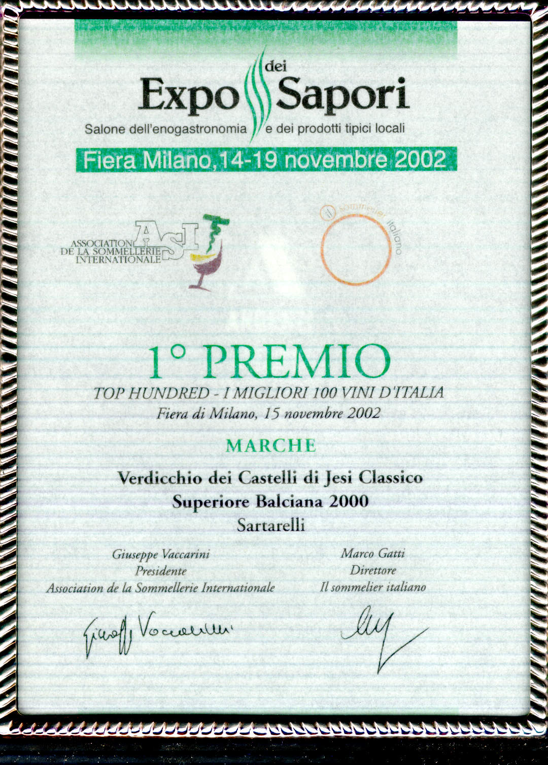 Balciana Sartarelli 2000 - 1° Premio Top Hundred Vini d'Italia (2002)