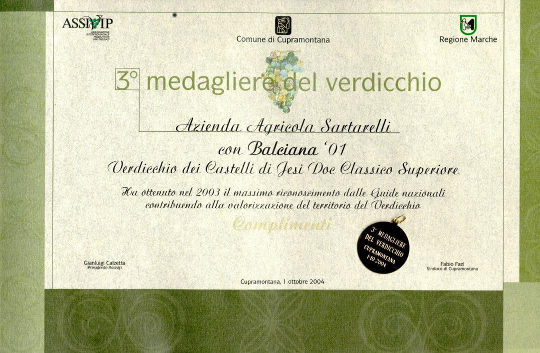 Balciana 2001 - 3° Medagliere del Verdicchio 2004