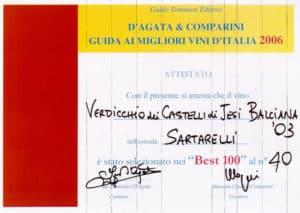 2006 Guida ai Migliori Vini d'Italia - Best 100 - Balciana 2003