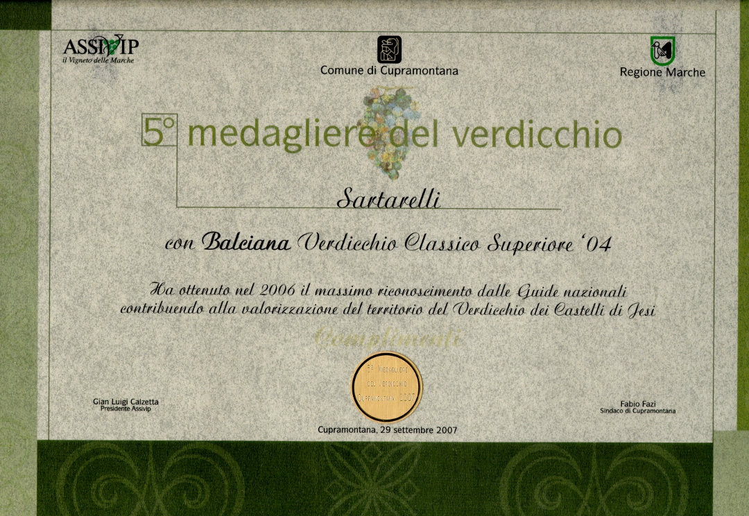 Balciana 2004 - 5° Medagliere del Verdicchio 2007