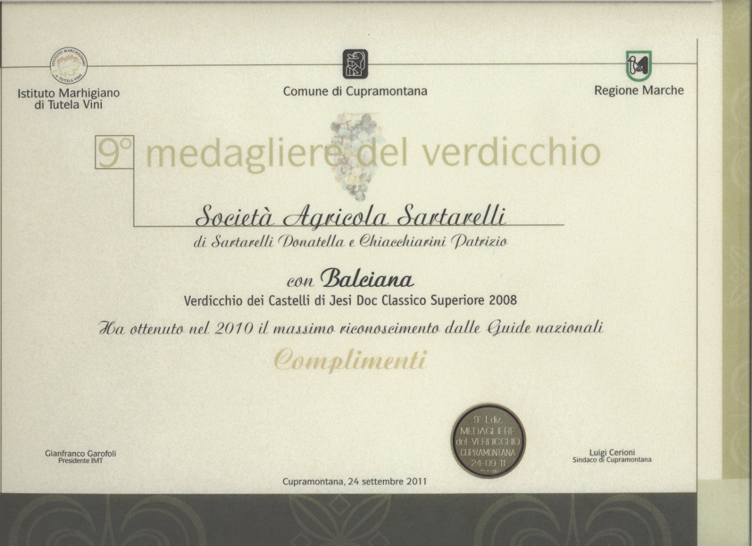 Balciana 2008 - 9° Medagliere del Verdicchio 2011