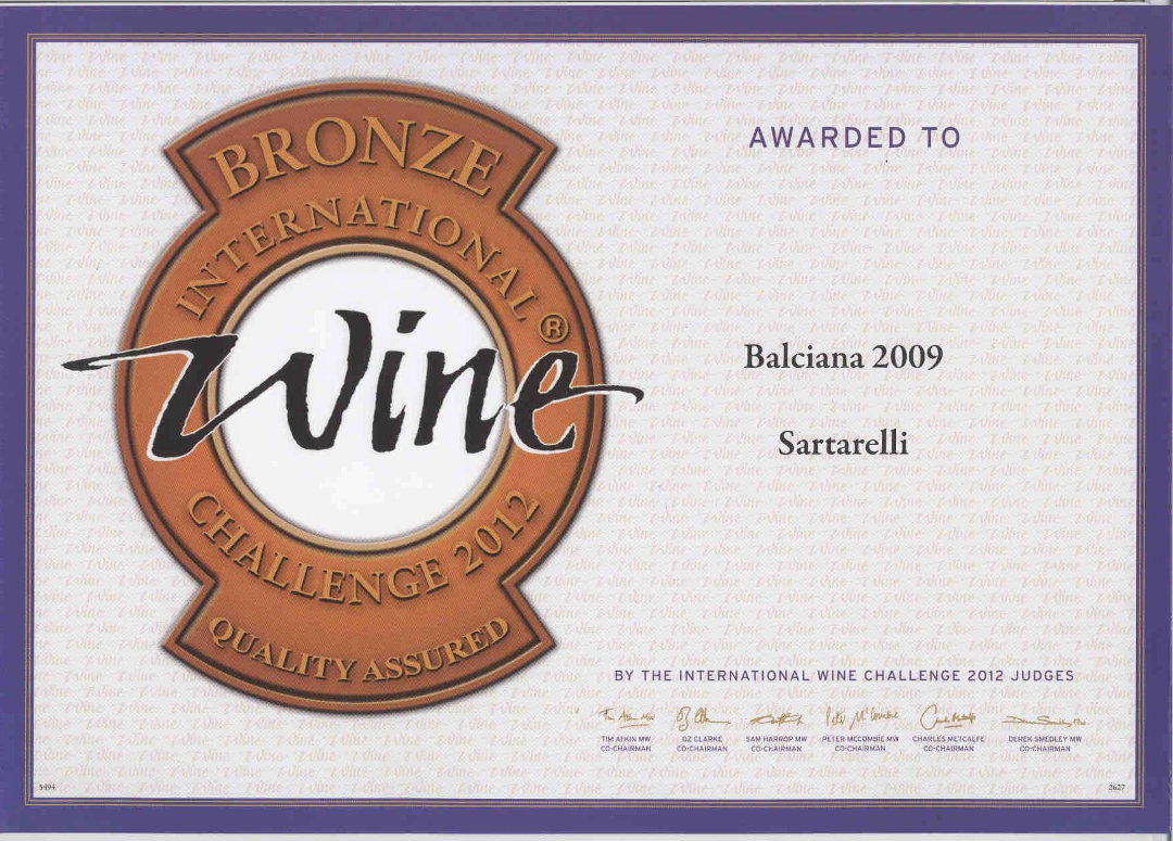 Balciana 2009 - Bronze Medal - Decanter World Wine Awards 2012