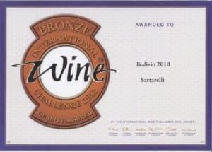 Tralivio 2010 - Bronze Medal - International Wine Challenge 2012