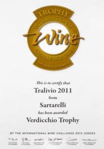Tralivio Sartarelli 2011 - Verdicchio Trophy - International Wine Challenge 2013