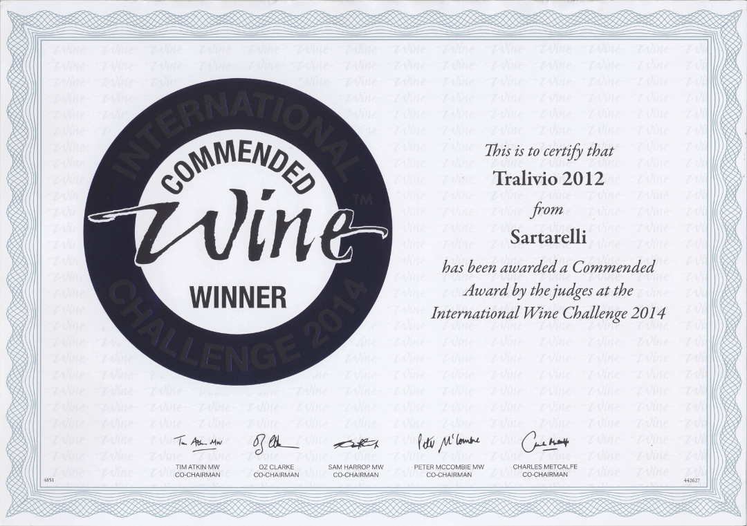 Tralivio 2012 - Commended Medal - International Wine Challenge 2014