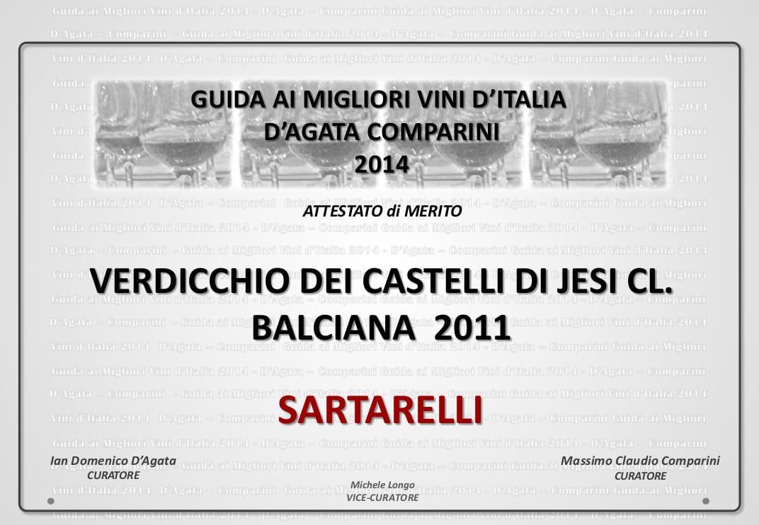 Balciana Sartarelli 2011 - Guida ai Migliori Vini d'Italia 2014