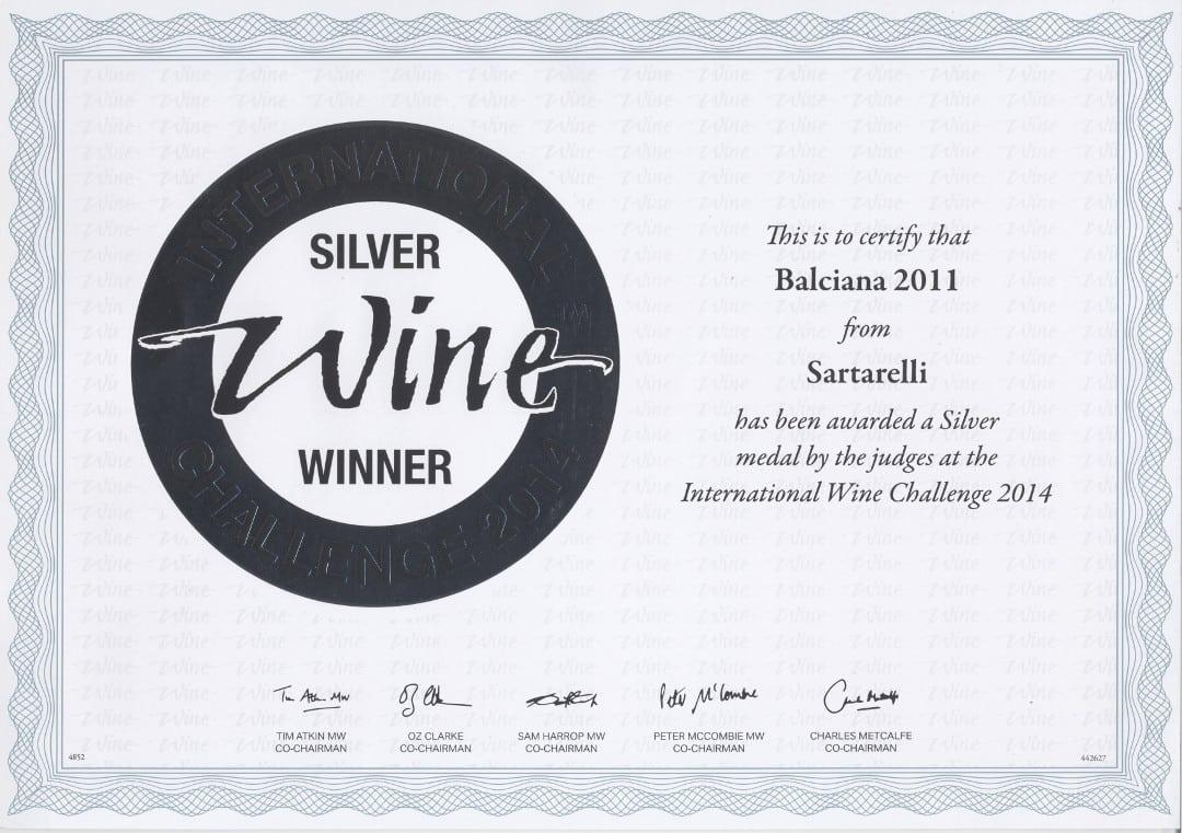 Balciana Sartarelli 2011 - Silver Medal - International Wine Challenge 2014