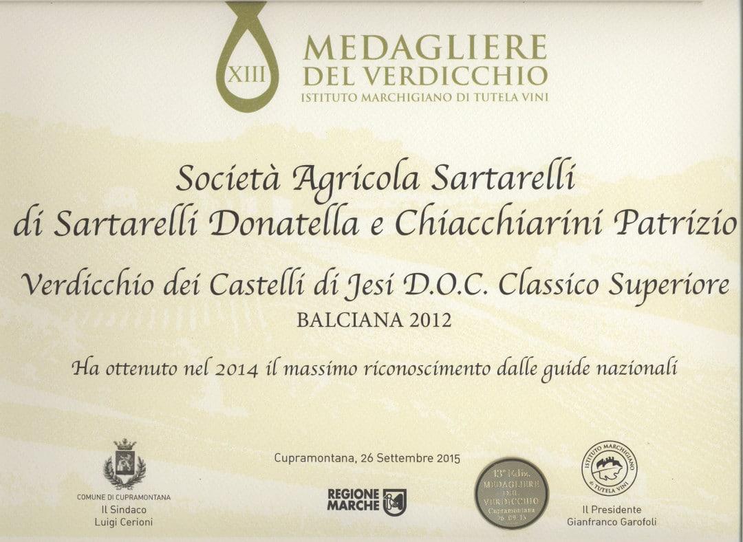 Balciana 2012 - 13° Medagliere del Verdicchio 2015