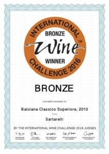 Balciana 2013 - Bronze Medal - International Wine Challenge 2016