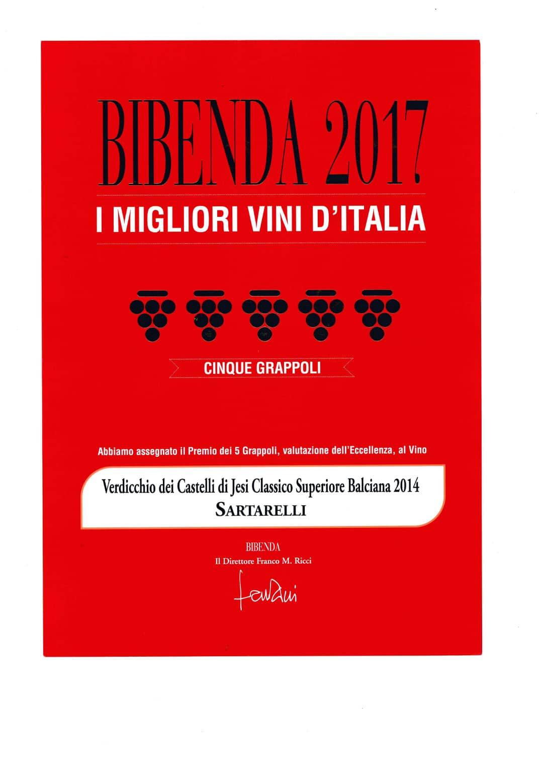 Balciana 2014 - 5 Grappoli - Bibenda 2017