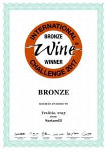 Tralivio 2015 - Bronze Medal - International Wine Challenge 2017