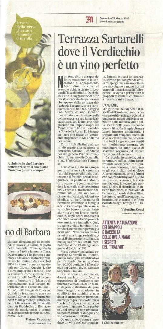 Terrazza Sartarelli dove il Verdicchio è un vino perfetto