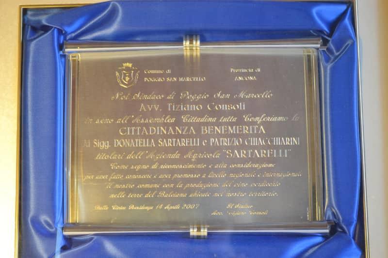 Honorary Citizenship of Poggio San Marcello to Donatella Sartarelli & Patrizio Chiacchiarini in 2007