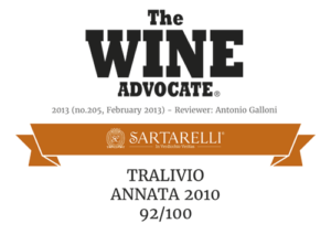2013 The Wine Advocate - Tralivio Sartarelli 2010
