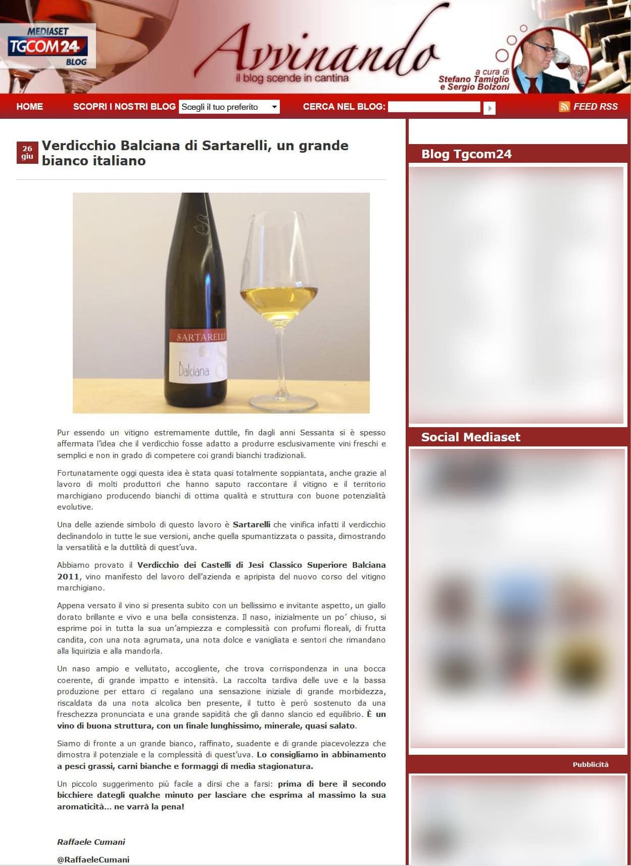 Tgcom24 - Verdicchio Balciana di Sartarelli, un grande bianco Italiano