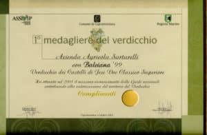 Balciana Sartarelli 1999 - 1° Medagliere del Verdicchio 2002
