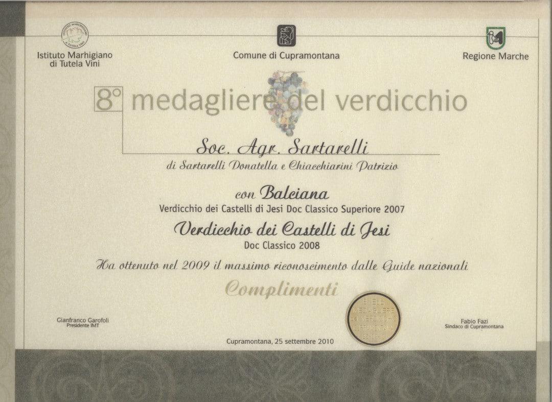 Sartarelli Classico 2008 - 8° Medagliere del Verdicchio 2010