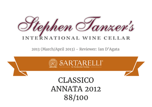 Sartarelli Classico 2012 - 88 points - Tanzer's International Wine Cellar