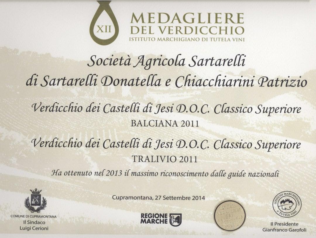 Balciana 2011 - 12° Medagliere del Verdicchio 2014