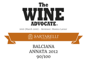 Balciana 2012 - 90/100 - The Wine Advocate 2016