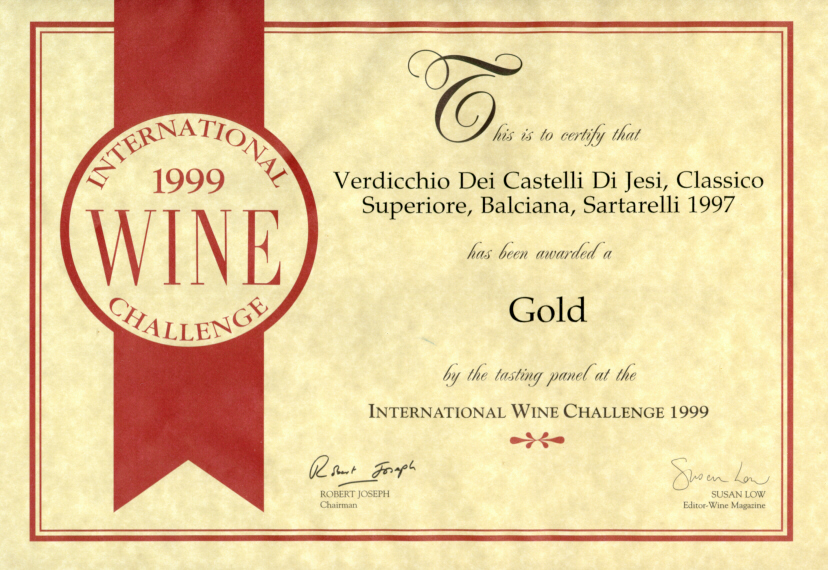 Balciana Sartarelli 1997 - Gold Medal - International Wine Challenge 1999