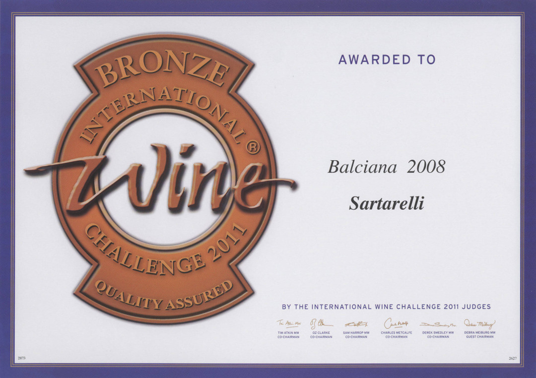 Balciana 2008 - Bronze Medal - International Wine Challenge 2011