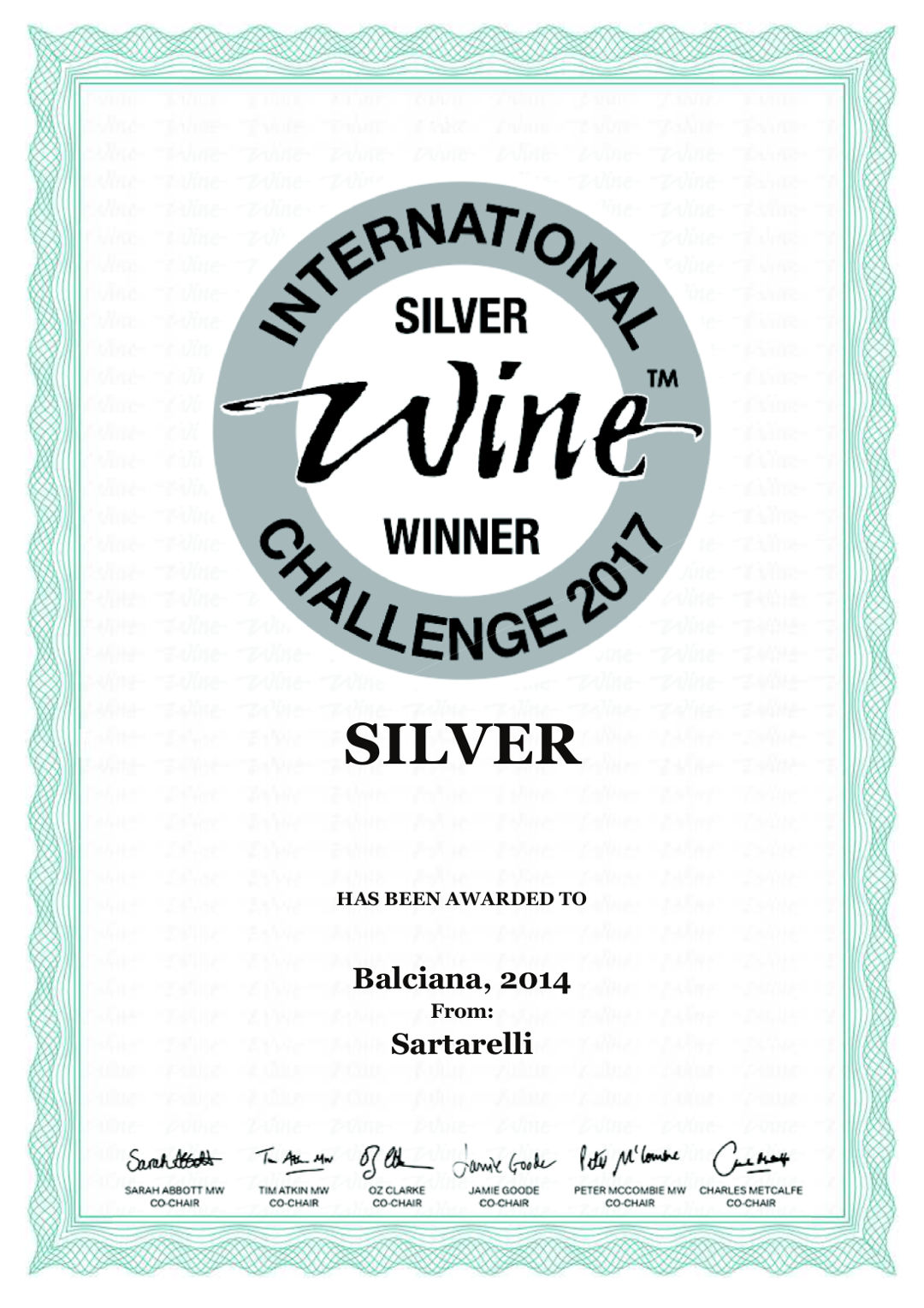 Balciana 2014 - Silver Medal - International Wine Challenge 2017