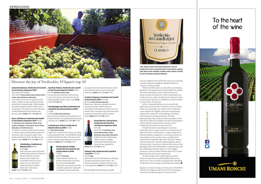 Balciana 2007 - 95/100 (1st place in the top 10) - Decanter Special Italy Issue 2013